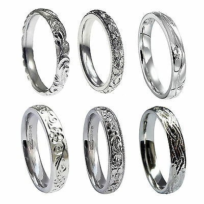 4mm 9ct White Gold Vintage Hand Engraved Court Comfort Wedding Rings Bands UK HM
