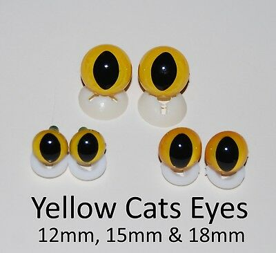 YELLOW CATS EYES PLASTIC BACKS - Teddy Bear Making Soft Toy Doll Animal Craft