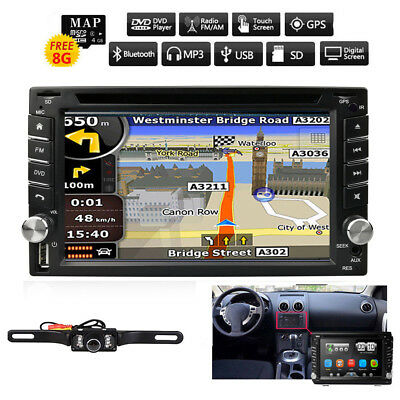 HIZPO Camera+GPS Navigation Double 2Din Car Dash Stereo DVD Player Aux Radio SWC