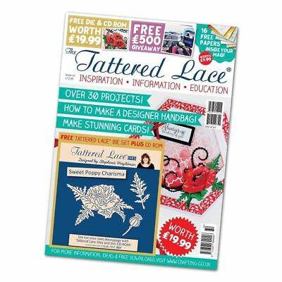 Tattered Lace Magazine Issue 32 - FREE Sweet Poppy Charisma Dies & FREE CD-ROM