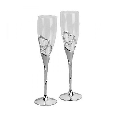 2 CHAMPAGNE FLUTES GOBLETS Wedding GLASSES Silver Plated Hearts Crystals Quality