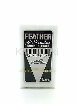 Feather 5 Pcs Hi-Stainless Steel Double Edge Razor Blades Free Shipping