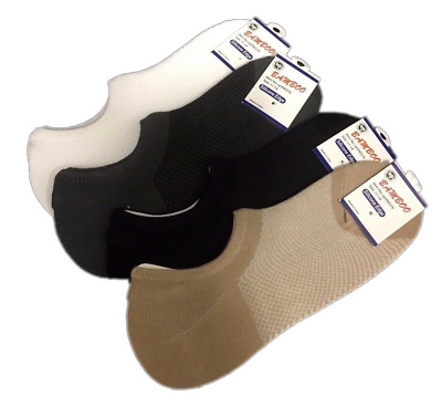 4 Prs Bamboo No Show Footlet Socks Silicone Edge Sockettes 11 - 14 Assorted