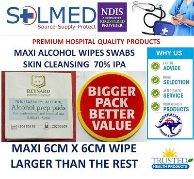 5000 X MAXI LARGE 60 x 60MM ALCOHOL WIPES, MEDICAL WIPES / MEDI SWABS - STERILE