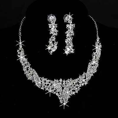 Diamante Wedding Bridal Prom Crystal Rhinestone Necklace Earrings Jewelry Sets