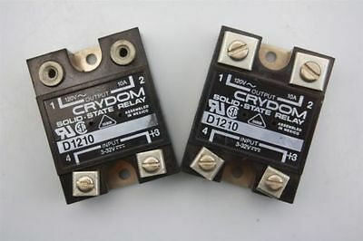 Lot of 2 CRYDOM D1210 Solid State Relay Input 3-32V, Output 120V 10A