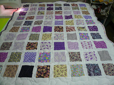 """Girl Handmade Handcrafted Pieced Purple and White Baby Crib Throw Quilt 40""""x 49"""""""