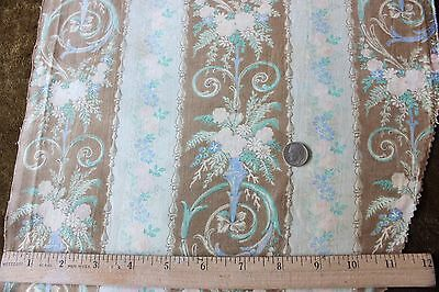 """Antique Victorian Faded French Rose & Vases Cotton/Linen Fabric c1870~19""""LX12""""W"""