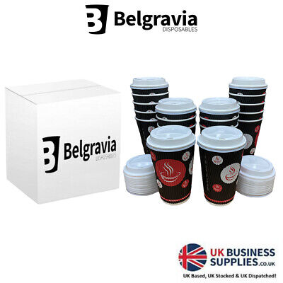 New Belgravia Red Black Ripple Triple Walled Paper Cups Tea Coffee Lids