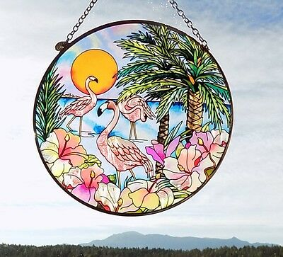 """AMIA Stained-Glass Look- """"Flamingo Bay""""- Suncatcher- Hand Painted-NEW"""
