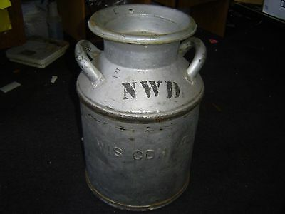 cream city old antique gray metal milk can yard lawn garden has dents has lid  F