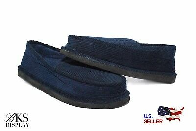 Mens Navy House Shoes Slippers Moccasin Slip-on Corduroy Comfort