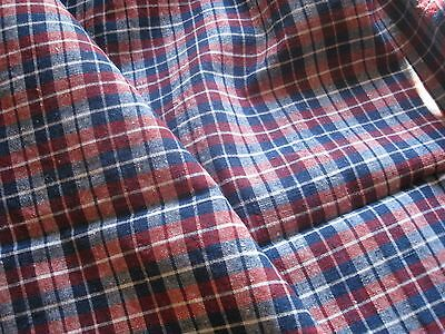 ANTIQUE FRENCH LINEN KELSCH - DEEP RED & BLUE KELSCH FABRIC - Alsace