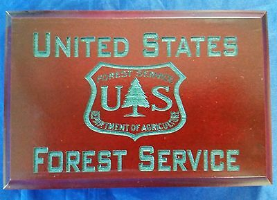"""US Forest Service Dept of Agriculture Cherry Walnut w Hunter Green Engrave 4""""X6"""""""