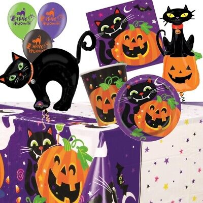 Black Cat Halloween Party Supplies Tableware, Decorations, Balloons, Pinata