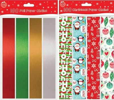 100 Coloured Foil Printed Paper Chains 20 Jumbo 80 Large Christmas Decorations