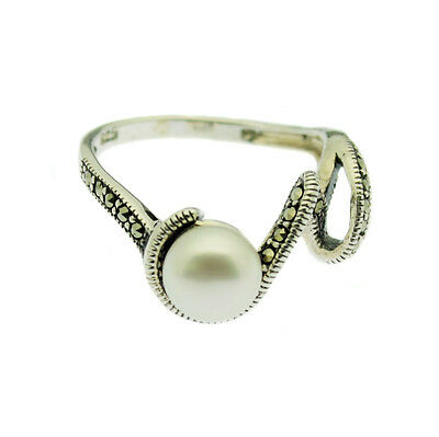 Pearl & Marcasite Ring 7mm Pearl Sterling Silver Size P Gift Boxed
