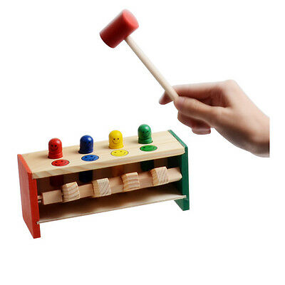 Wooden Hammering Bench Children Toddlers Toy Hammer Coloured Wood Pegs Game