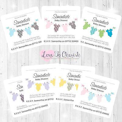 Personalised baby shower invites vestsonsiesclothes line boy personalised baby shower invites vestsonsiesclothes line boy girl unisex filmwisefo