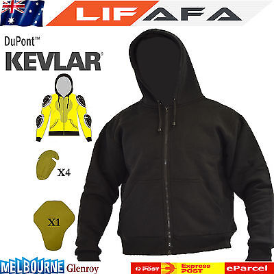 Motorcycle Removable Armoured made of Kevlar® Ultimate Protection Black Hoodie