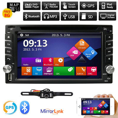"Camera+6.2"" 2 Double DIN Car DVD Player GPS Navigation Bluetooth Radio Stereo"