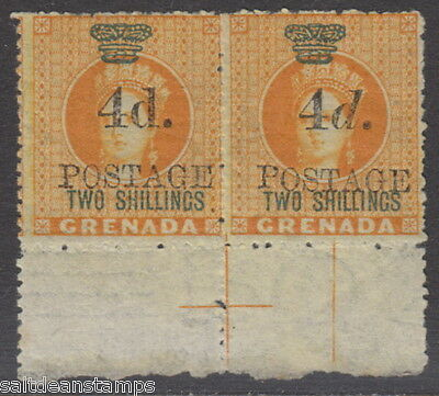 "GRENADA - 1888 4d. on 2s. Orange Upright ""d"" (in Marginal Pair) - MM / MH"