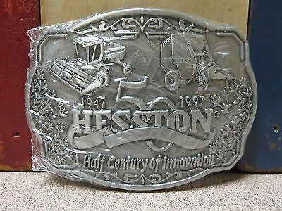 Vintage 1997 Hesston 50 Years of Innovation Belt Buckle NOS FREE SHIPPING!