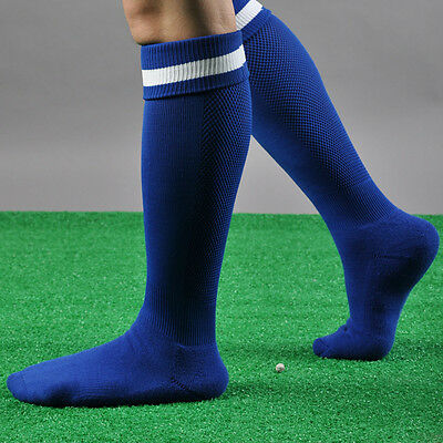 Mens Sport Football Baseball Soccer Striped Socks Over Knee High Rugby Hockey