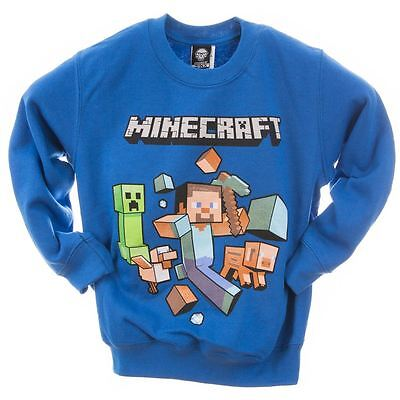 Minecraft Sweater   Mine Craft Jumper   Official   RUN AWAY   Youth   Royal Blue