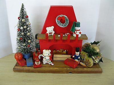 Nice Homemade Christmas Fireplace Scene with Toys under the Tree  Free Ship