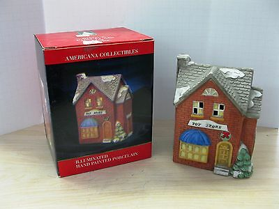 American Collectibles Illuminated Hand Painted Porcelain Christmas Toy Store