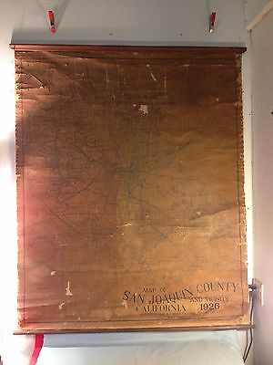 "ANTIQUE 1926 SAN JOAQUIN COUNTY & VICINITY STOCKTON, CA  51"" x 61"" BUD & WIDDOWS"