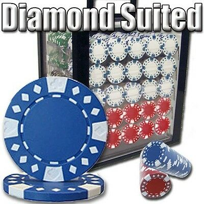 New 1000 Diamond Suited 12.5g Clay Poker Chips Set w/ Acrylic Case - Pick Chips!