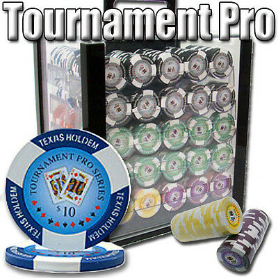 New 1000 Tournament Pro 11.5g Clay Poker Chips Set w/ Acrylic Case - Pick Chips!