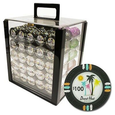 New 1000 Desert Heat 13.5g Clay Poker Chips Set with Acrylic Case - Pick Chips!