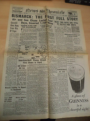 Old Vintage 1940S Newspaper News Chronicle 28 May 1941 Ww2 Crete Bismarck