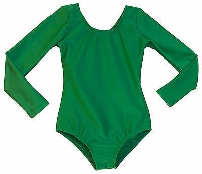 Adult Scoop Neck Low Sheen Long Sleeve Leotard Kelly Green Size S, M, L, XL