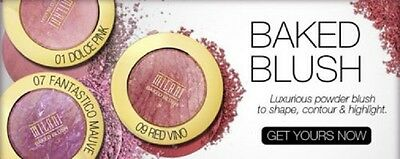 (1) NEW Milani Baked Blush With Mirror & Brush, You Choose!