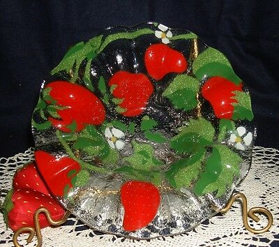 Sydenstricker Strawberry Fused Art Glass Berry Bowl & Small Plate Signed