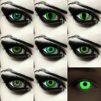 Green colored monster contact lenses creepy goblin costume contacts Halloween