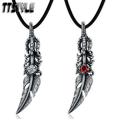 TTstyle 316L Stainless Steel Feather Pendant Dragon Claw Choose Color Free Chain