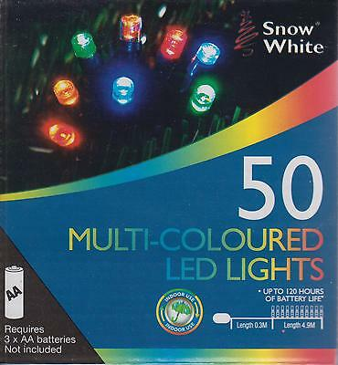 Snow White Battery Powered LED Christmas Fairy Lights 4.9M 50 Lights MultiColour