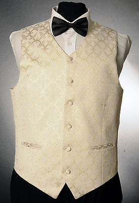 W - 1047.mens And Boys Ivory And Gold Fern Leaf Waistcoat Wedding/ Dress/ Formal