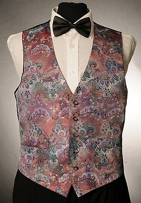 W - 1049.mens And Boys Red Paisley Waistcoat Wedding/ Dress/ Formal