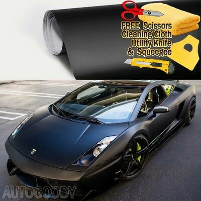 "*36/""x60/"" Matte Flat Black Car Vinyl Wrap Sticker Decal Air Release Bubble Free"