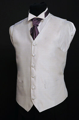 W - 441. Solid silver, silk finish waistcoat - wedding / dress / suit / party