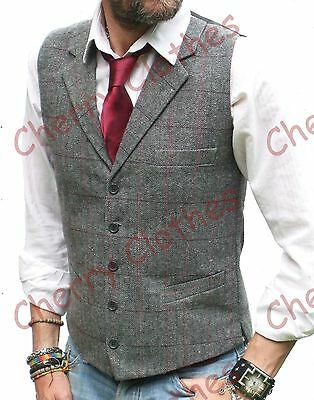 Mens Wool Blend Tweed Grey Gray Tailored Fit Check Lapel Collar Waistcoat Vest