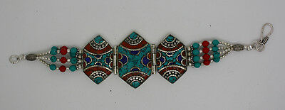 Sterling Silver Bracelet Coral Tibetan Cuff Ethnic Turquoise Bangle UB14