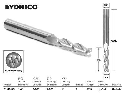 "7/32"" Dia. Upcut Spiral End Mill CNC Router Bit - 1/4"" Shank - Yonico 31313-SC"