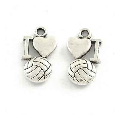 Packet 30 x Antique Silver Tibetan 16mm I Love Soccer Charm/Pendant ZX16140